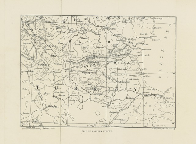"""map from """"The Great War of 189-. A forecast. By Rear-Admiral P. Colomb, Colonel J. F. Maurice, R.A., Captain F. N. Maude, Archibald Forbes, Charles Lowe, D. Christie Murray, and F. Scudamore. With illustrations from sketches specially made for """"Black and White"""" by F. Villiers"""""""