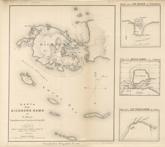 """map from """"Vegas färd kring Asien och Europa, jemte en historisk återblick på föregående resor längs gamla verldens nordkust. [Illustrated.]"""""""