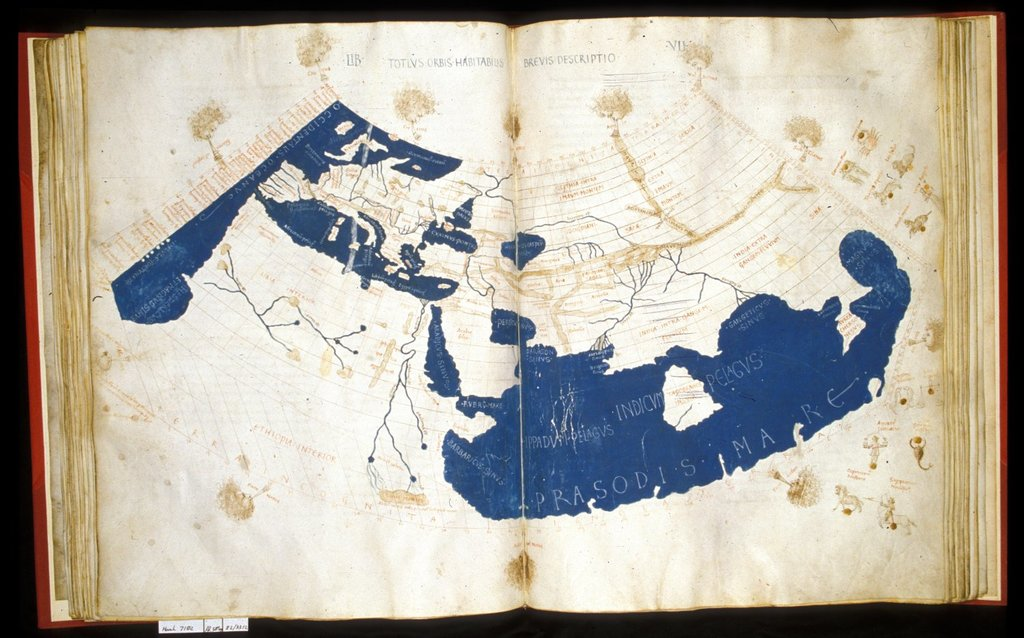 Map of the world from BL Harley 7182, ff. 58v59