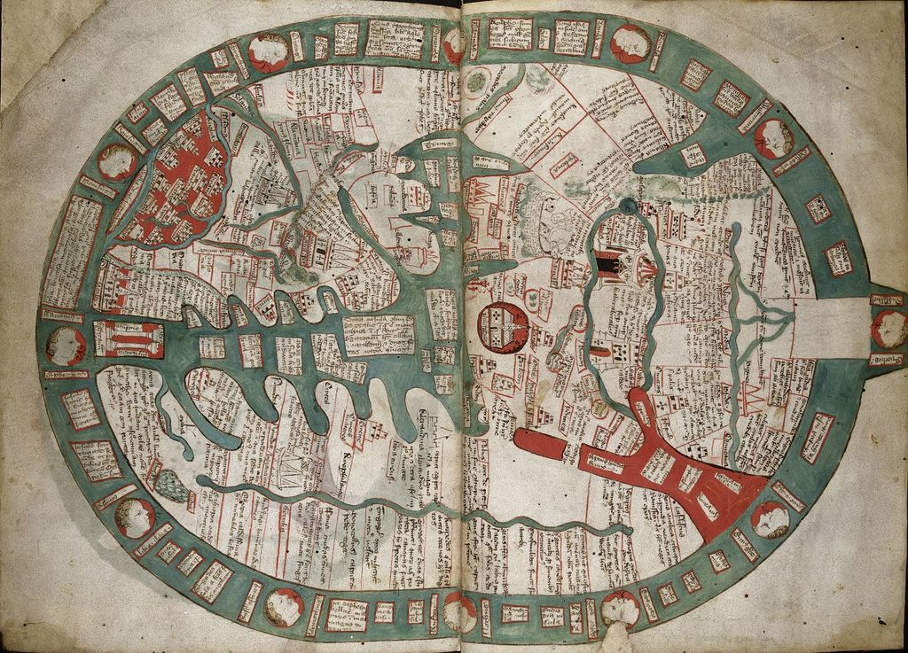 Map of the world from BL Royal 14 C IX, ff. 1v2