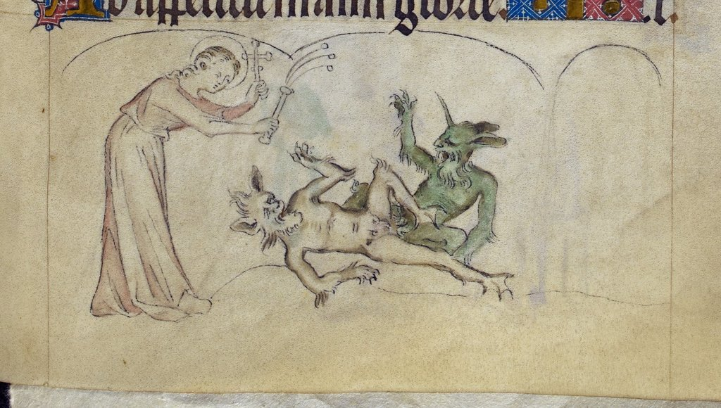 Margaret and devils from BL Royal 2 B VII, f. 310