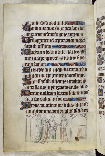 Marriage of Thomas's parents from BL Royal 2 B VII, f. 289v