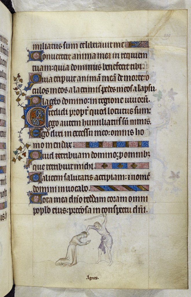 Martyrdom of Agnes from BL Royal 2 B VII, f. 239