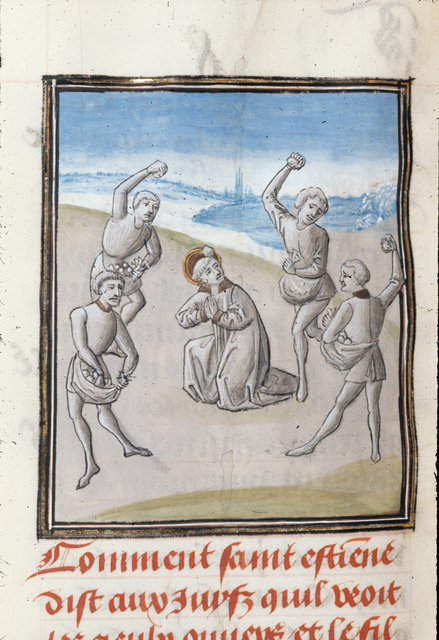 Martyrdom of Stephen from BL Royal 15 D I, f. 396v