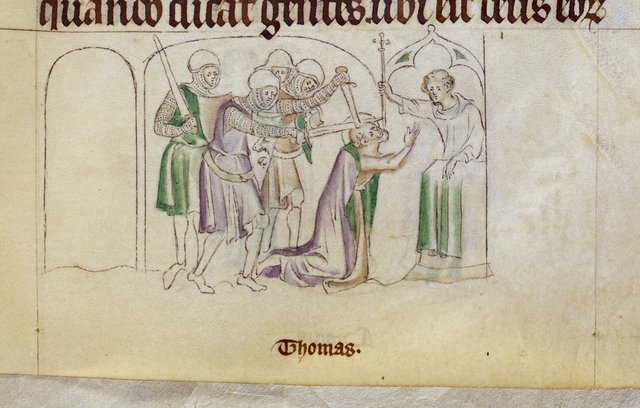 Martyrdom of Thomas from BL Royal 2 B VII, f. 237