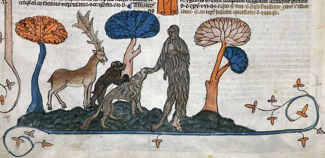 Mary of Egypt feeding a lion, a bear and a stag from BL Royal 10 E IV, f. 280v