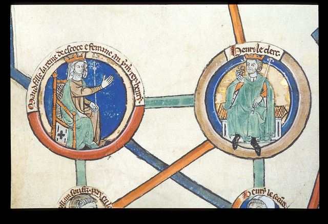 Matilda and Henry I from BL Royal 14 B VI, Membrane 5