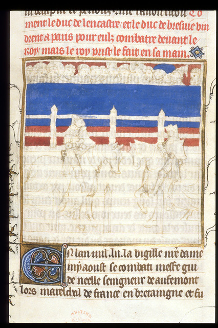 Meeting of Henry of Lancaster and Otto of Brunswick from BL Royal 20 C VII, f. 108