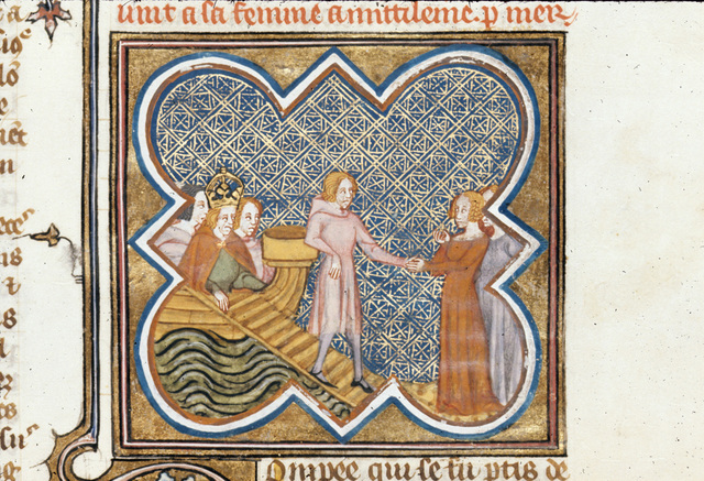 Meeting of Pompeius and his wife from BL Royal 16 G VII, f. 343