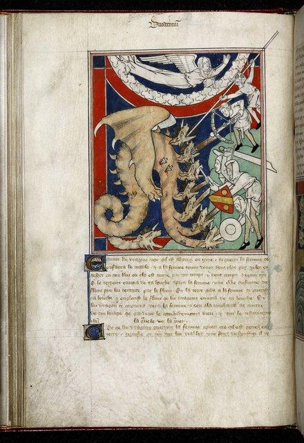 Men battling with a dragon from BL Royal 19 B XV, f. 22v