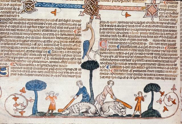 Men clubbing lions from BL Royal 10 E IV, f. 234v