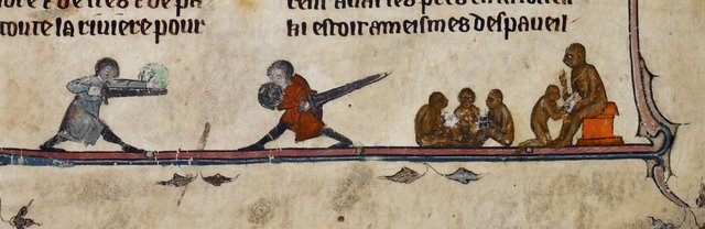Men fighting and monkeys at school from BL Royal 20 D IV, f. 1