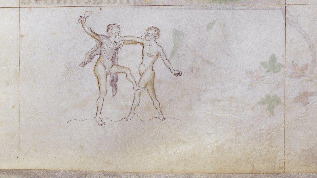 Men wrestling from BL Royal 2 B VII, f. 168