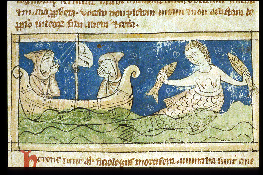 Mermaid from BL Sloane 3544, f. 28v