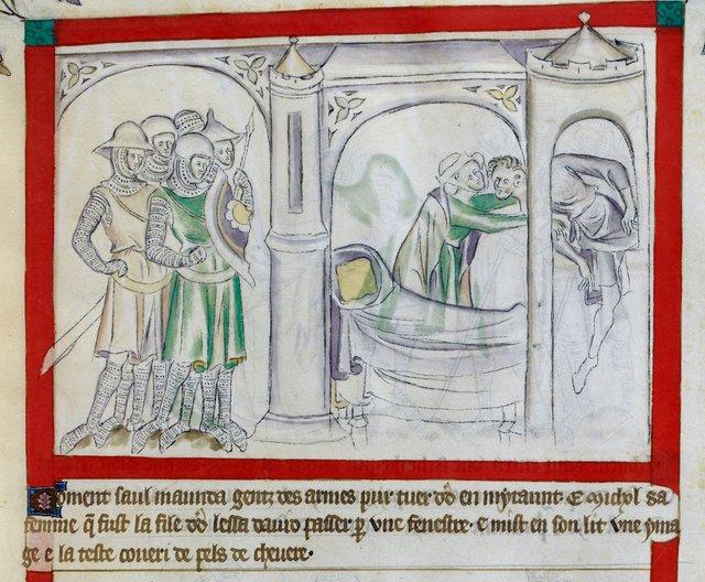 Michal saving David from BL Royal 2 B VII, f. 52