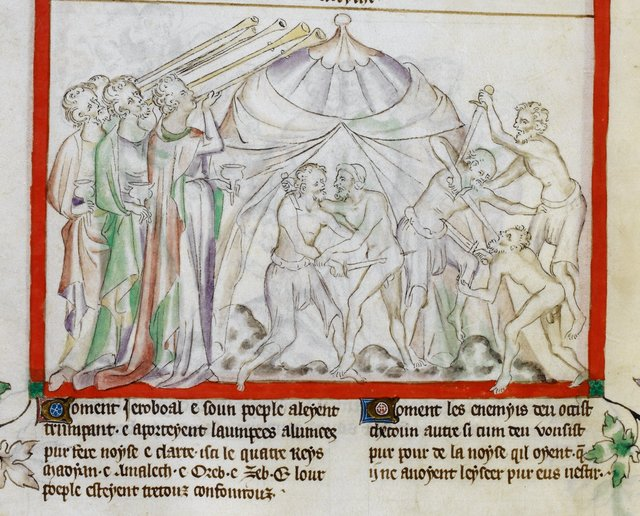 Midianites attack from BL Royal 2 B VII, f. 34v