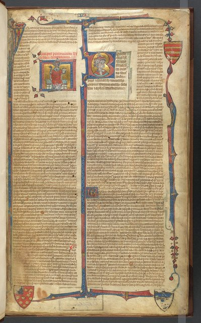 Miniature, historiated initial and full border from BL Arundel 443, f. 1