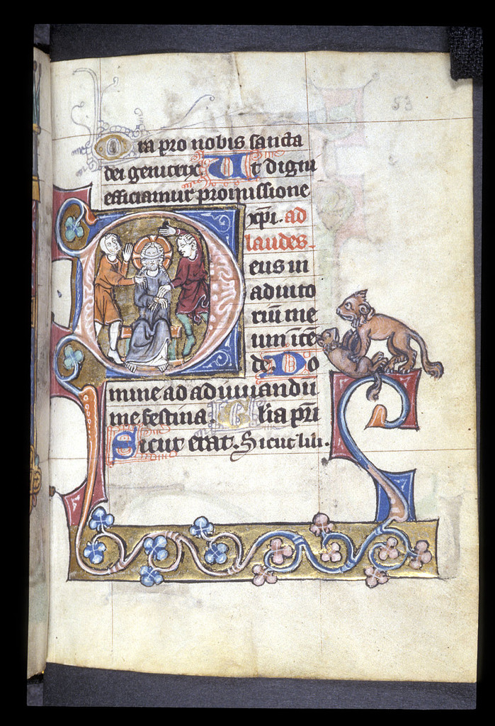 Mocking of Christ from BL Stowe 17, f. 53