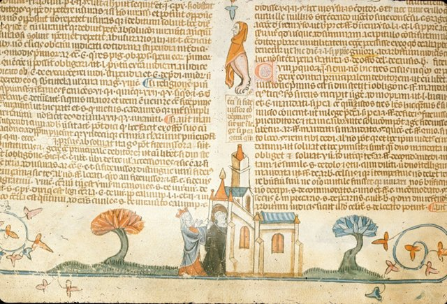 Monk and queen from BL Royal 10 E IV, f. 189v