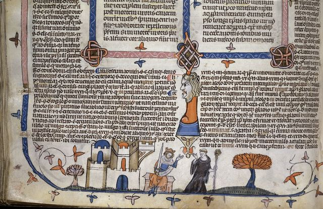 Monk departing from a king from BL Royal 10 E IV, f. 245v