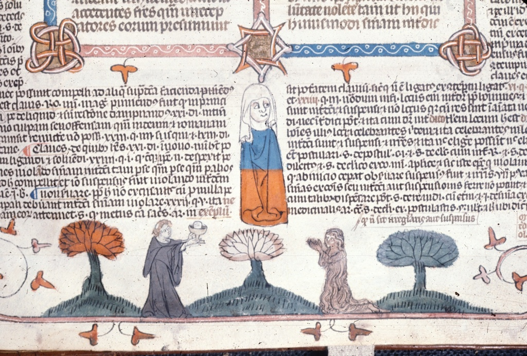 Monk giving a chalice and host to Mary of Egypt from BL Royal 10 E IV, f. 286