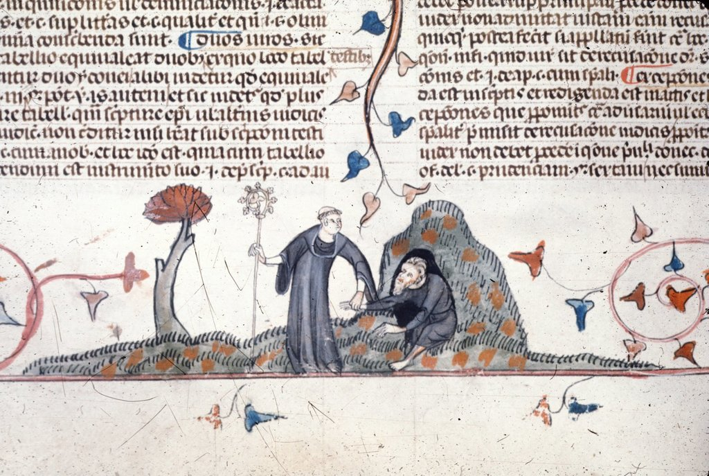 Monk leading hermit from BL Royal 10 E IV, f. 118v