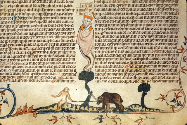 Monkey teasing bear from BL Royal 10 E IV, f. 155v