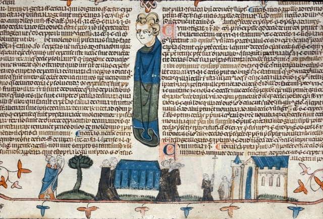 Monks carrying a coffin from BL Royal 10 E IV, f. 201
