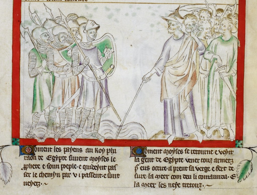 Moses and the king of Egypt from BL Royal 2 B VII, f. 24v