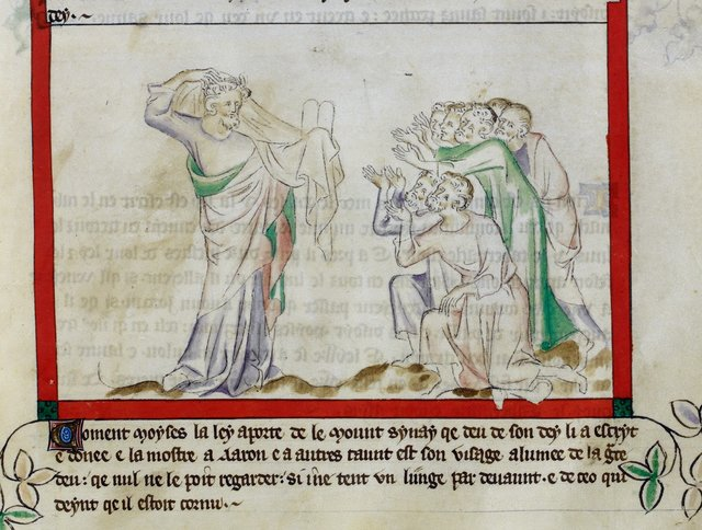 Moses showing the laws from BL Royal 2 B VII, f. 26