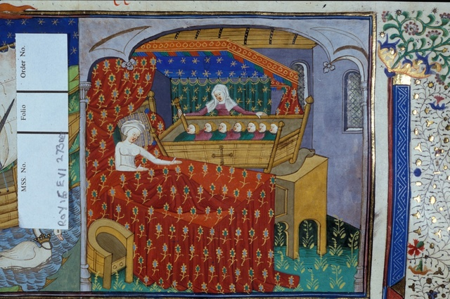 Mother in bed from BL Royal 15 E VI, f. 273