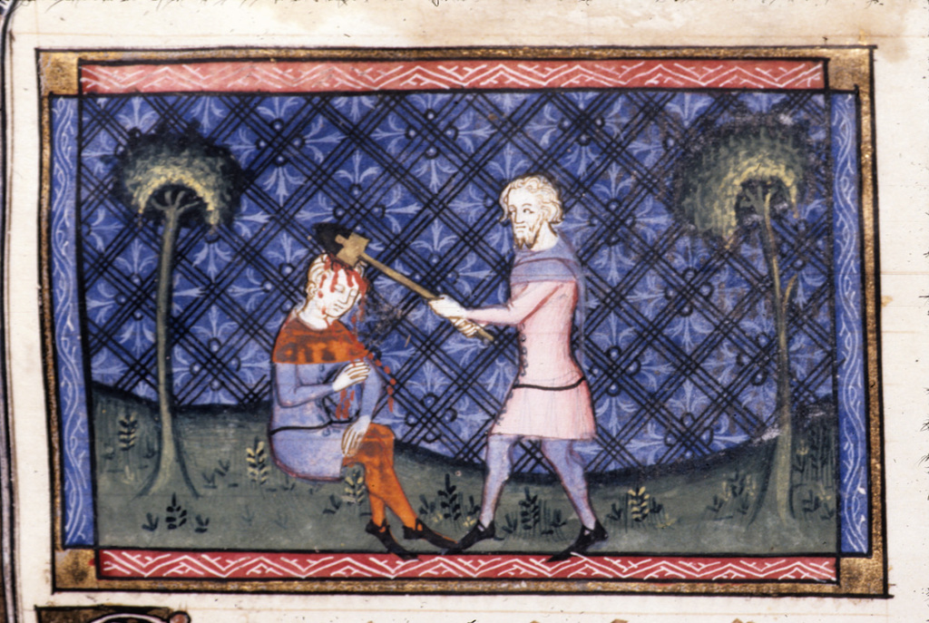Murder of Abel from BL Royal 19 D II, f. 10v