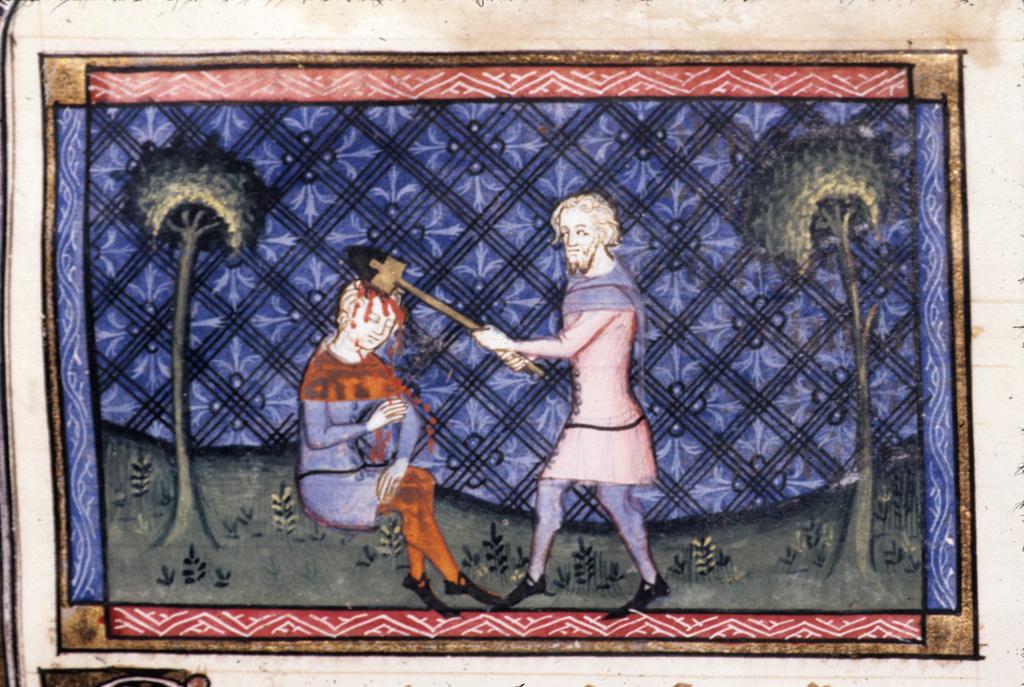 Murder of Abel from BL Royal 19 D II, f. 10v