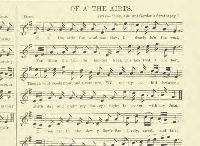 "music from ""The National Burns. Edited by Rev. George Gilfillan, including the airs of all the songs, and an original life of Burns by the editor. [With plates, including portraits.]"""
