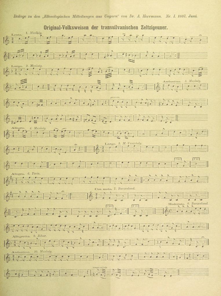 """musical score from """"Zauber- und Besprechungsformeln der transsilvanischen und südungarischen Zigeuner. [Extracted from Ethnologische Mitteilungen aus Ungarn, Jahrgang 1, Heft 1 and 2.]"""""""