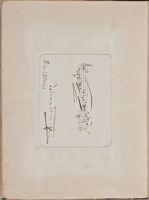 Muzikale inscriptie / van Johann Strauss (1825-1899), componist, voor Louise Westermann-Heinze (1837-1929)
