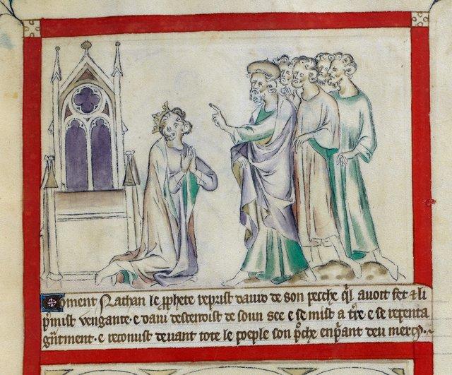 Nathan reproving David from BL Royal 2 B VII, f. 58