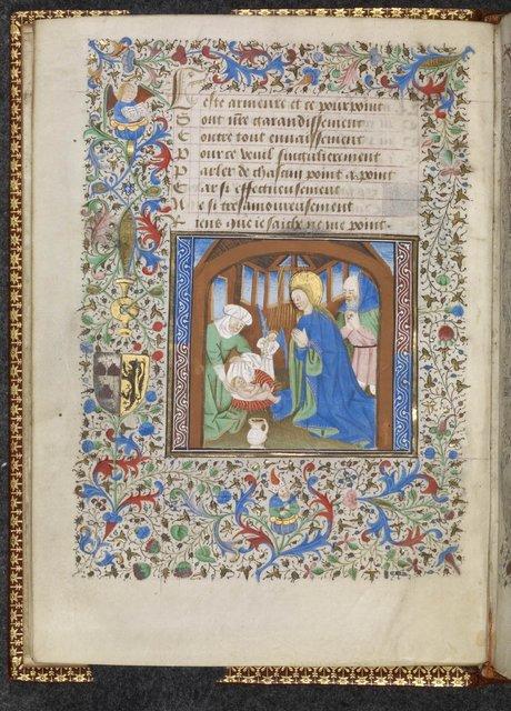 Nativity from BL Harley 3999, f. 5v