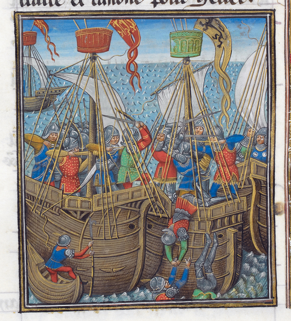 Naval battle between English and Flemings from BL Royal 14 E IV, f. 276