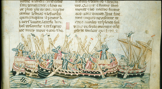 Naval battle from BL Royal 20 D I, f. 258