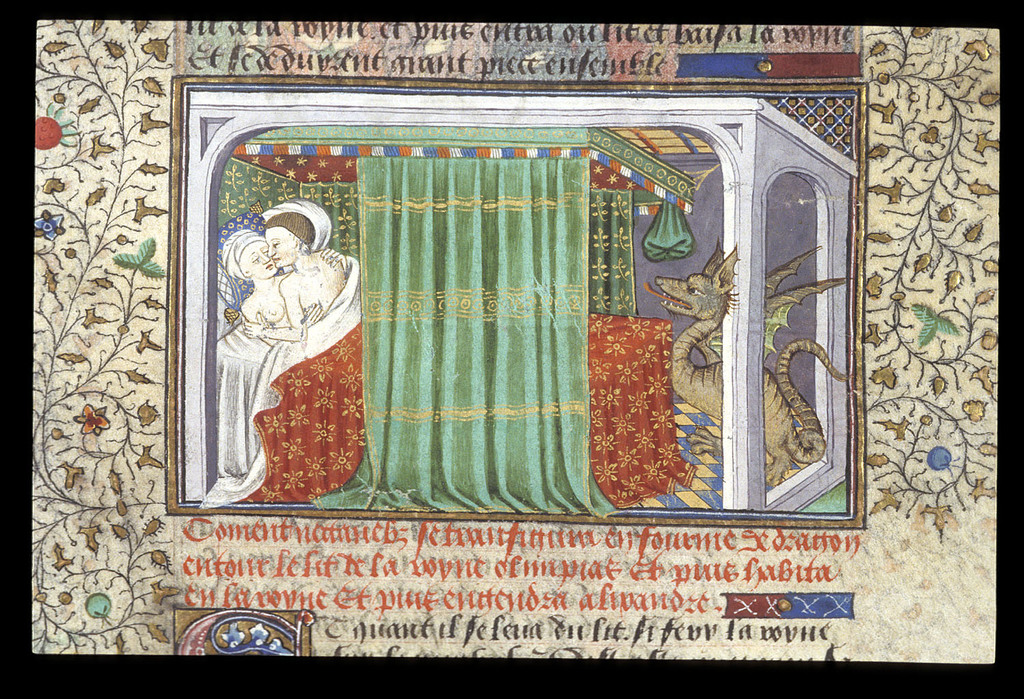 Nectanebus and Olympias from BL Royal 15 E VI, f. 6