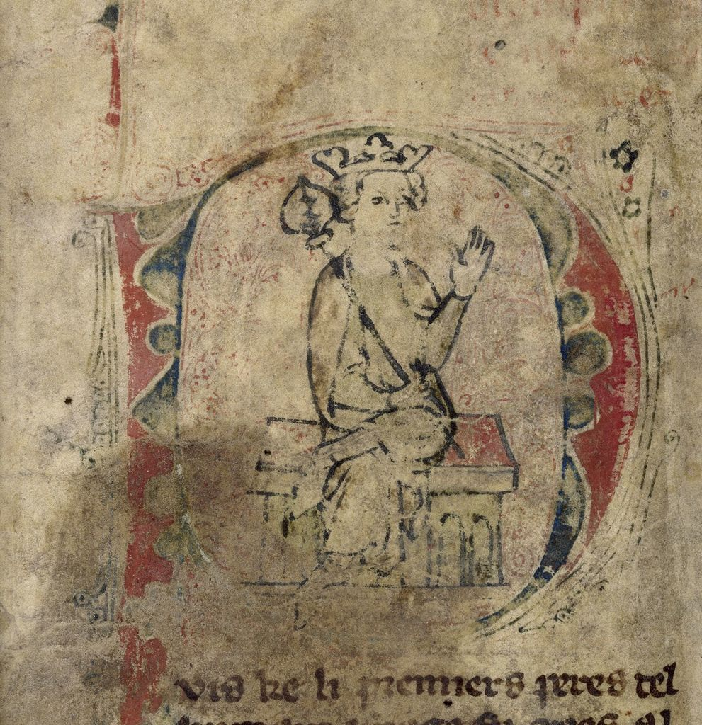 Nectanebus enthroned from BL Royal 20 A V, f. 1