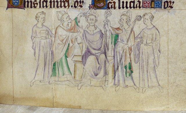 Nicholas and bishop from BL Royal 2 B VII, f. 317