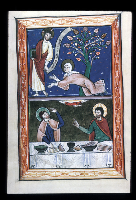 Noli me tangere and supper at Emmaeus from BL Arundel 157, f. 11v