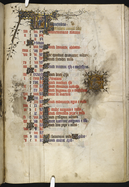 November from BL Eg 3277, f. 6