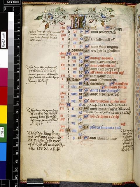 October from BL Royal 2 A XVIII, f. 32v