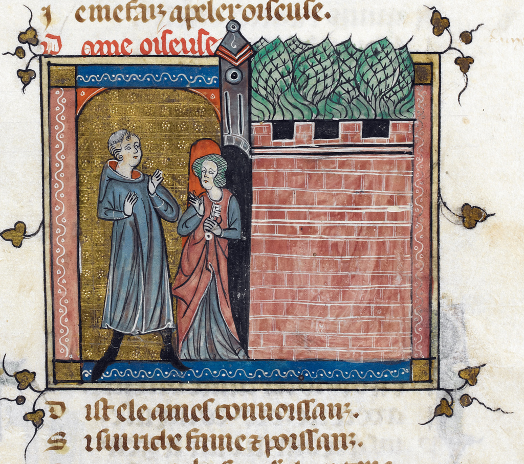 Oiseuse admitting the Lover from BL Royal 19 B XIII, f. 9