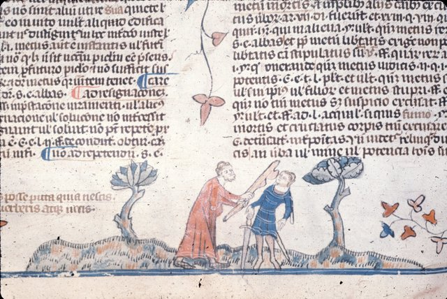 One man clubbing another from BL Royal 10 E IV, f. 84v