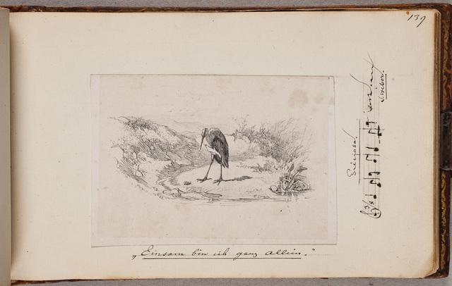 """Ooievaar, """"Einsam bin ich ganz allein"""" / door K[arl] B[odmer] (1809-1893)"""