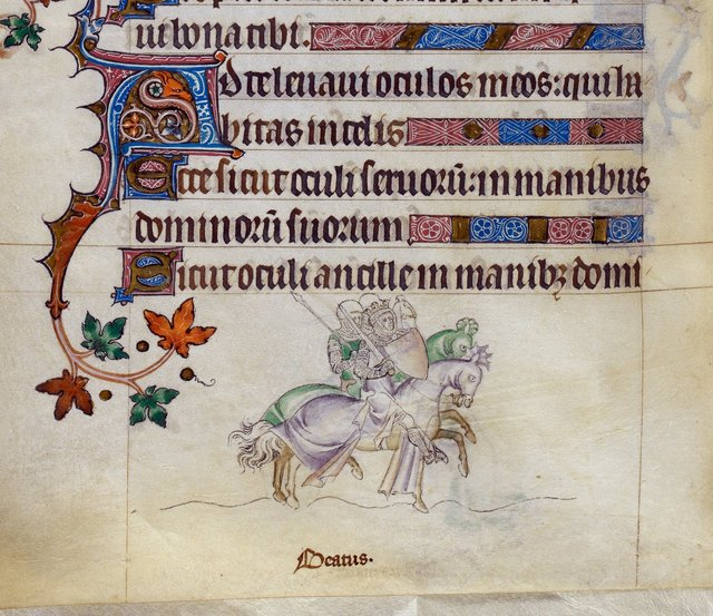 Oswald riding into battle from BL Royal 2 B VII, f. 258v